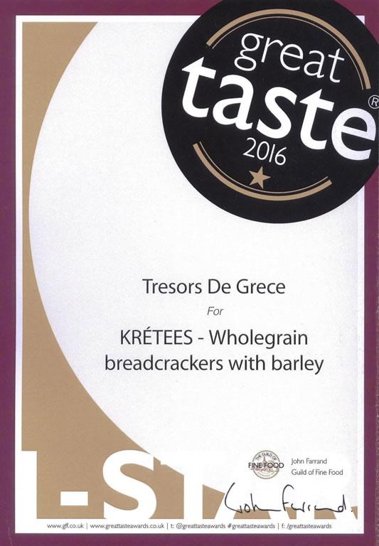 GTA KRETEES 1star Sept 2016 KRETEES Wholegrain breadcrackers with barley GREAT TASTE 1 STAR