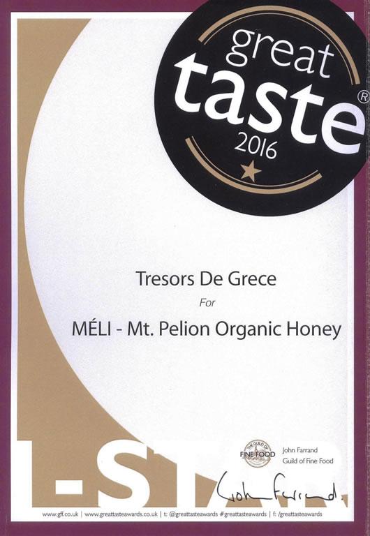 GTA MELI 1star Sept 2016 MELI Organic Honey from Mt. Pelion GREAT TASTE 1 STAR