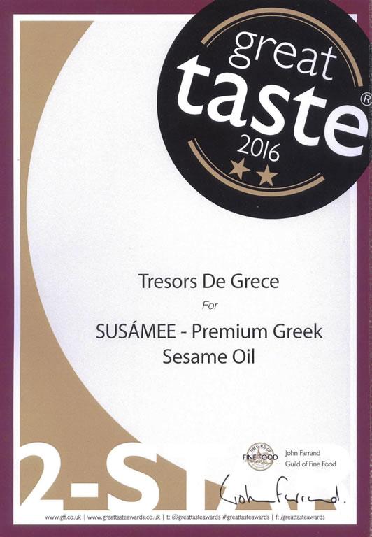 GTA SUSAMEE 2star Sept 2016 SUSAMEE Premium Greek Sesame Oil GREAT TASTE 2 STARS