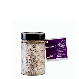 intro 2 alas salt crystals with organic thyme jar b Sea salt crystals from Messolongi, with Organic Thyme jar 160g