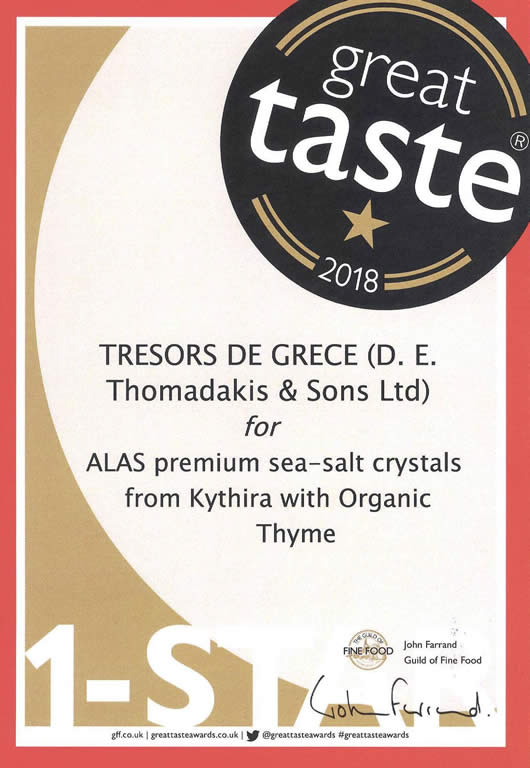 gta 2018 alas kythira with thyme Alas premium sea salt crystals from kythira with organic thyme  GREAT TASTE 1 STARS