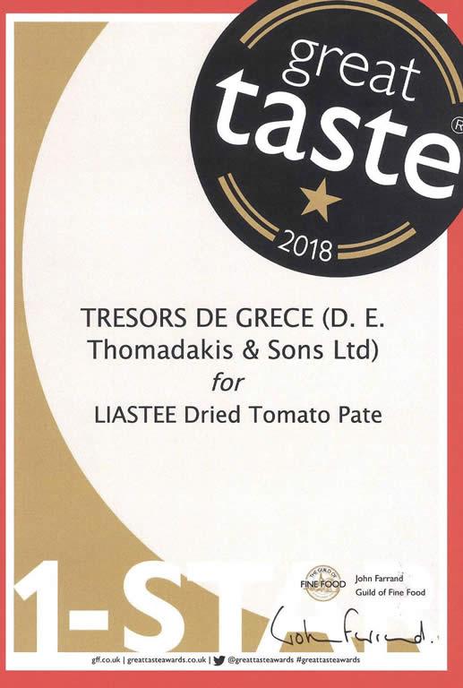 gta 2018 liastee pate Liastee dried tomato paté GREAT TASTE 1 STARS