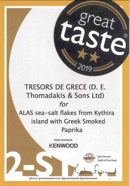 gta 2019 alas kithira with paprika alas sea salt flakes from kythira islandd with greek smoked paprika GREAT TASTE 2 STARS