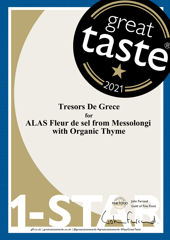ALAS Fleur de sel from Messolongi 1 star Awards & Media