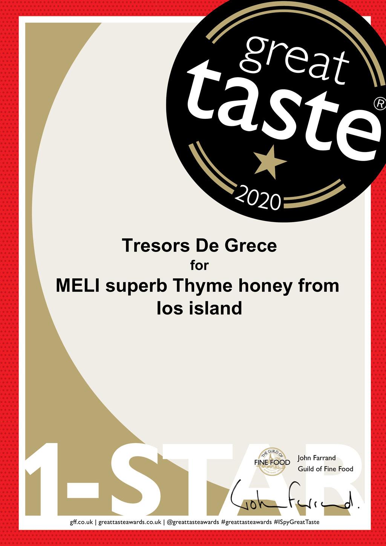 MELI superb Thyme honey 1 star Awards & Media