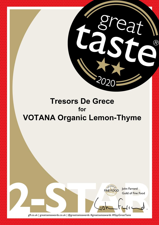 VOTANA Organic Lemon Thyme 2 stars Awards & Media